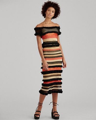 Striped Linen-Blend Maxidress