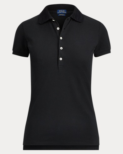Slim Fit Crochet-Collar Polo