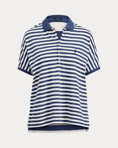 Striped Poncho Mesh Polo Shirt