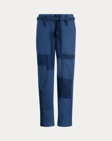 Patchwork Straight-Leg Pant