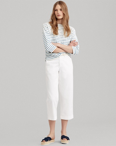 Cropped Twill Wide-Leg Pant
