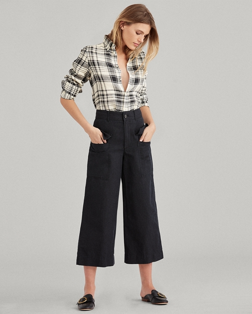 Cotton Linen Wide Leg Pant by Ralph Lauren