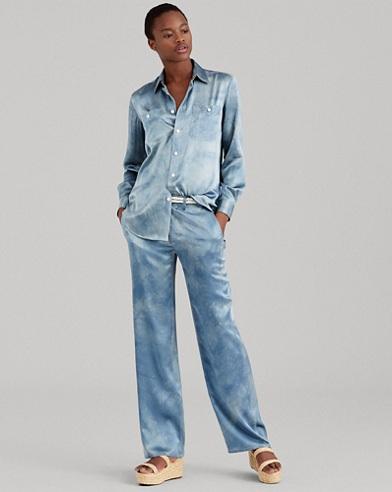 Silk Wide-Leg Pant