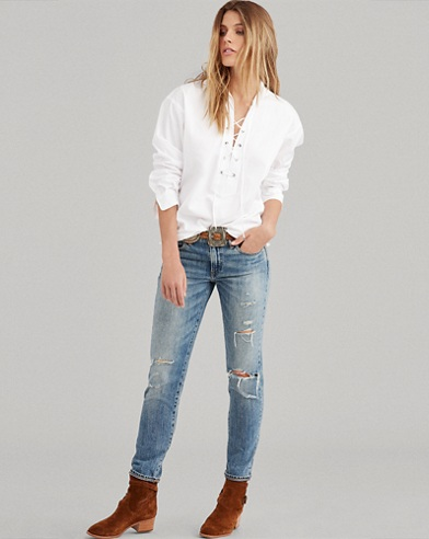 Broadcloth Lace-Up Shirt