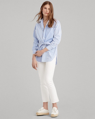 Tie-Front Striped Cotton Shirt