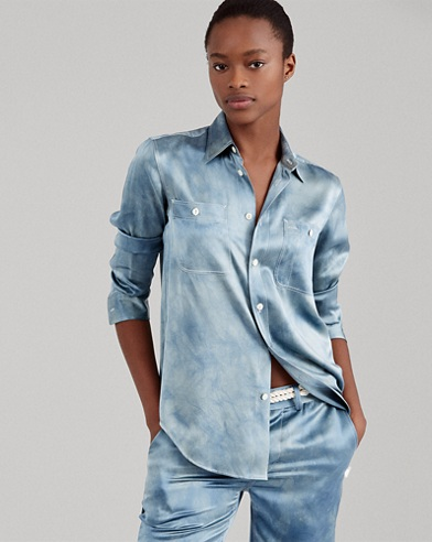Tie-Dye Silk Satin Shirt