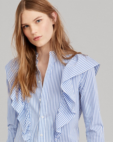 Striped Ruffled Button-Down