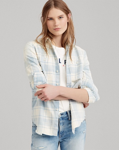 Relaxed Fit Plaid Cotton Shirt