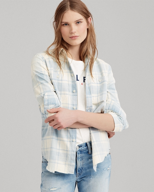 Relaxed Fit Plaid Cotton Shirt by Ralph Lauren