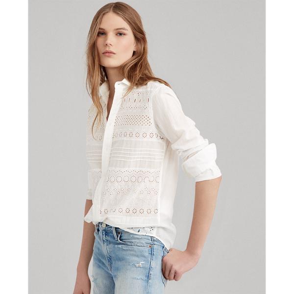Eyelet Cotton Poplin Shirt by Ralph Lauren