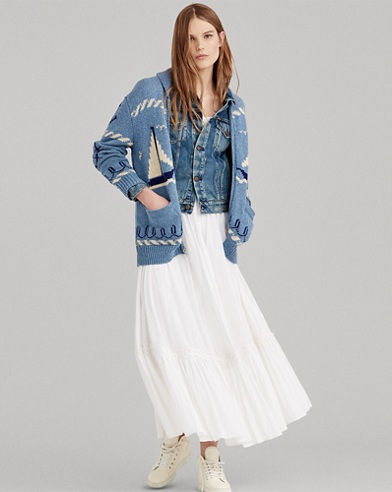 Crinkle Cotton Maxiskirt