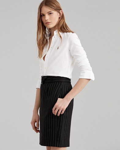 Stripe Linen-Wool Pencil Skirt