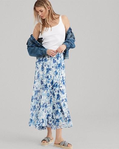 Floral Crinkle Silk Wrap Skirt