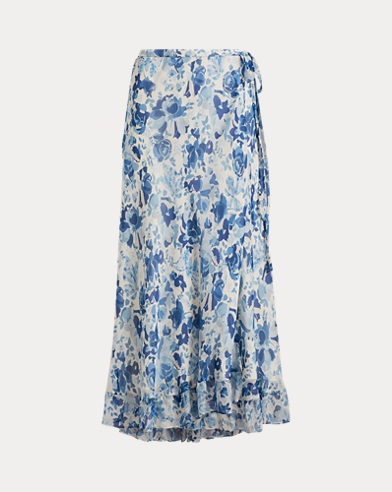Floral Crinkle Silk Wrap Skirt
