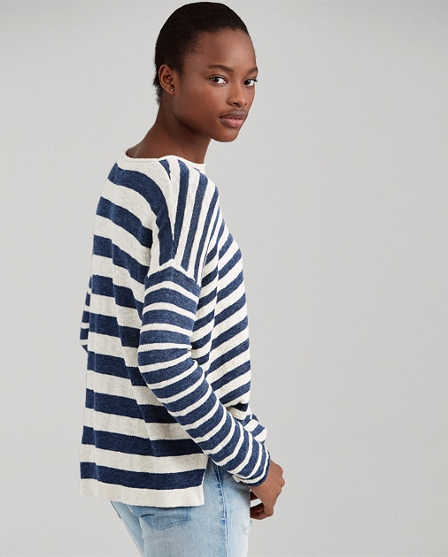 Striped Linen Blend Sweater by Ralph Lauren