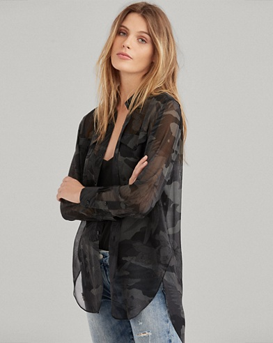 Camo Silk Georgette Shirt