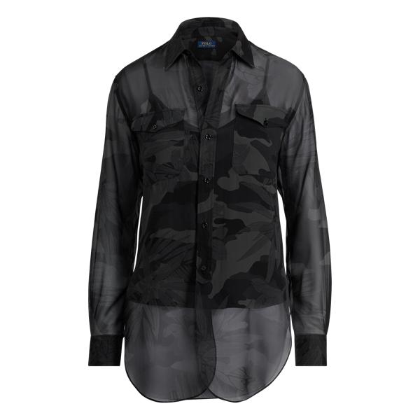 Ralph Lauren Camo Silk Georgette Shirt Jungle Camo Xs
