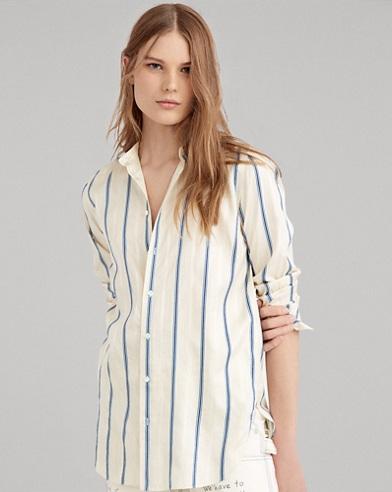 Striped Silk Button-Down Shirt