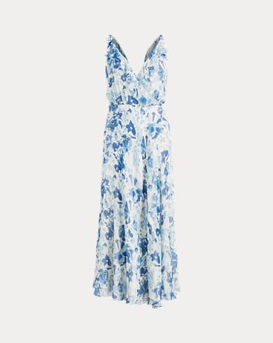 Floral Silk Wrap Dress