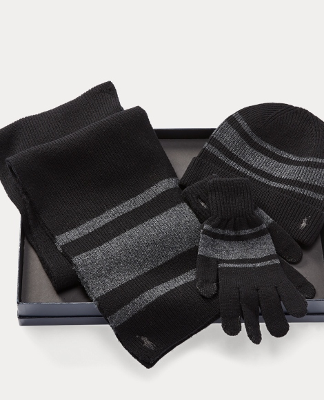Striped Hat, Scarf & Glove Set