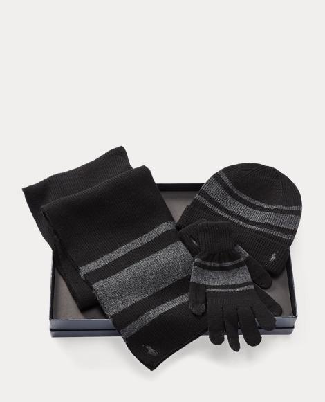 Striped Hat, Scarf & Glove Set