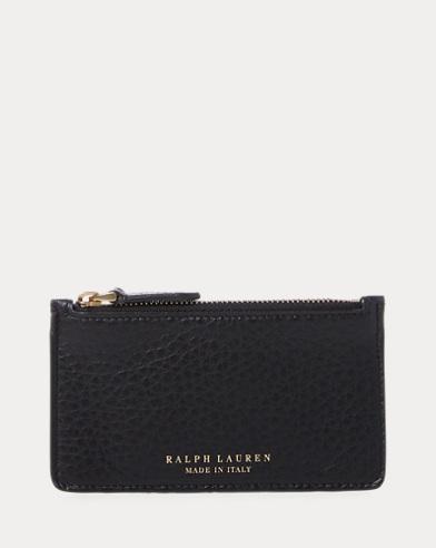 Tumbled Calfskin Zip Card Case