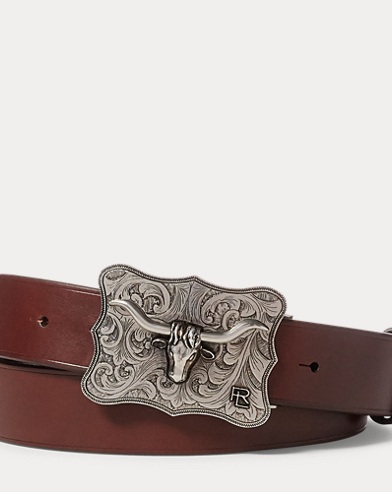 Longhorn-Buckle Leather Belt