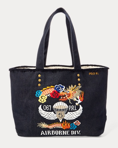 Dragon-Embroidered Canvas Tote