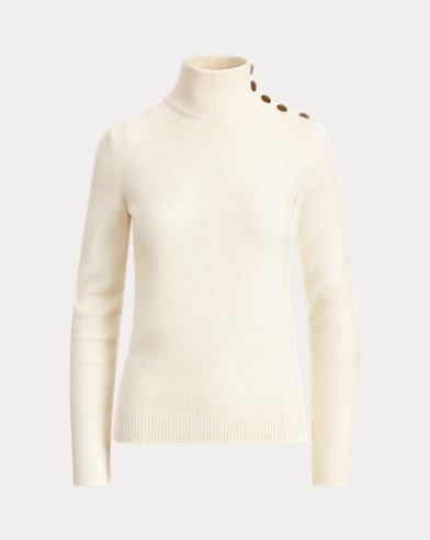 Button Cashmere Turtleneck