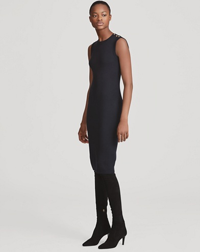 Button-Trim Silk Sweater Dress