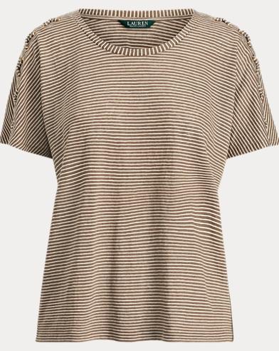 Lace-Up Striped Linen T-Shirt
