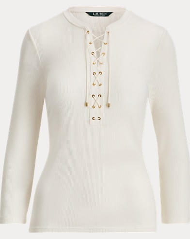 Ribbed Cotton Lace-Up Top