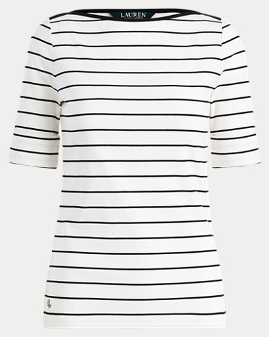 Striped Cotton Boatneck Top