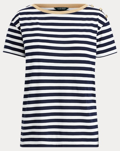 Stripe Button-Shoulder T-Shirt