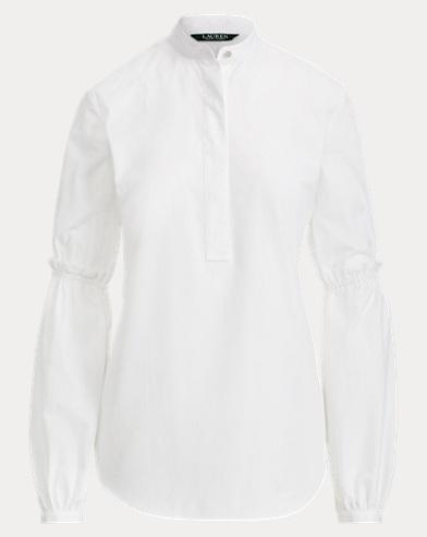 Broadcloth Bishop-Sleeve Shirt