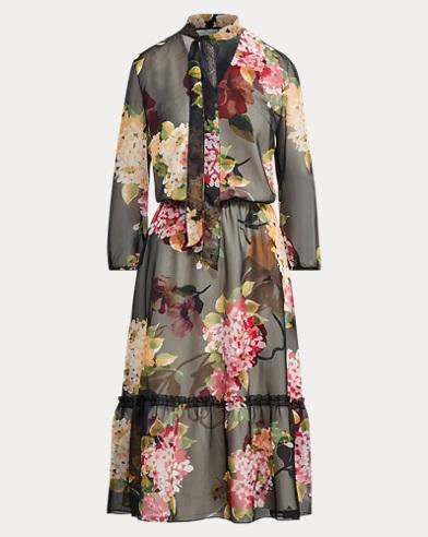 Floral Chiffon Tie-Neck Dress