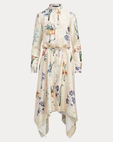 Floral Handkerchief-Hem Dress
