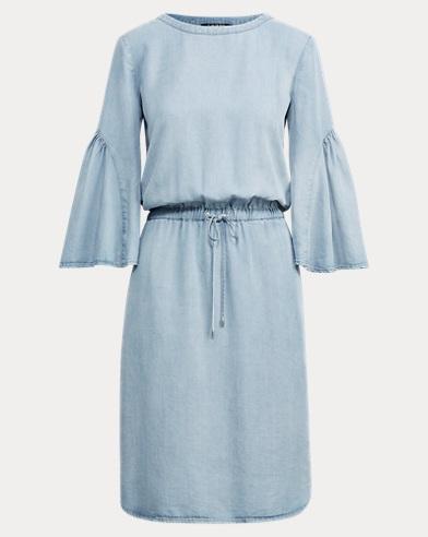 Ruffle-Sleeve Drawstring Dress