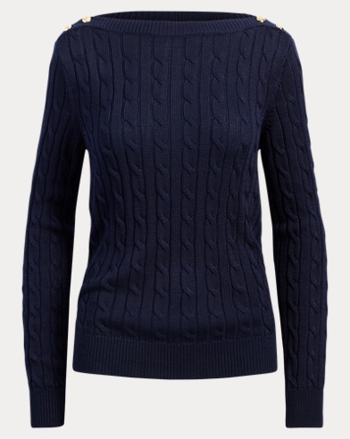 Button-Shoulder Cable Sweater