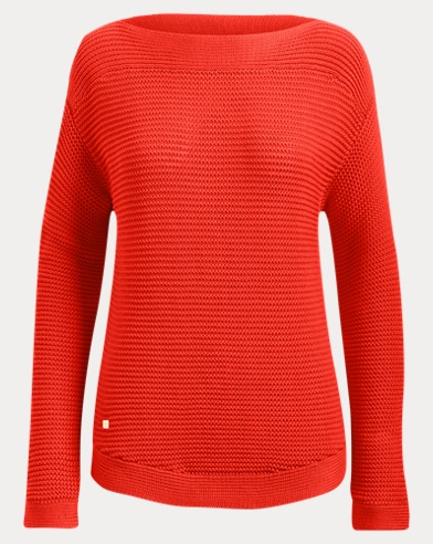 Ribbed Cotton Boatneck Sweater
