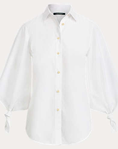 Cotton Tie-Sleeve Shirt