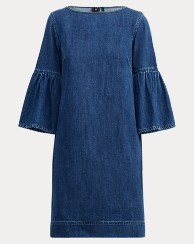 Denim Bell-Sleeve Shift Dress