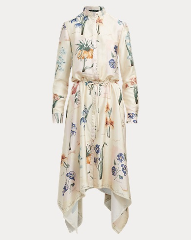 Floral Handkerchief-Hem Dress