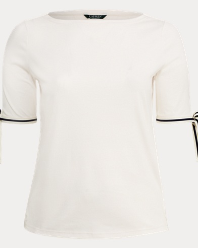 Tie-Sleeve Cotton Top