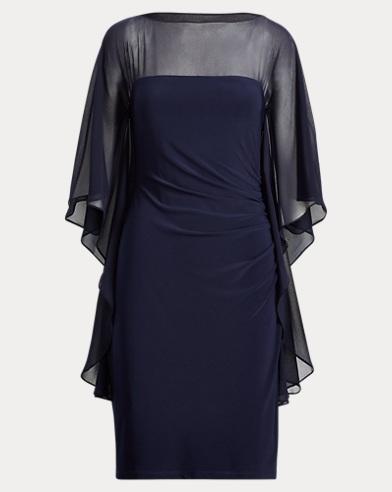 Mesh-Jersey Boatneck Dress