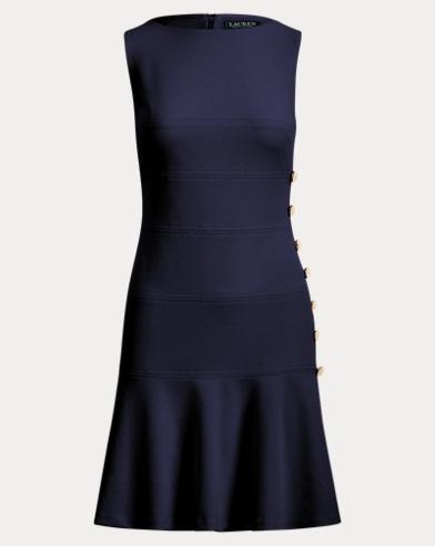Button-Trim Crepe Dress