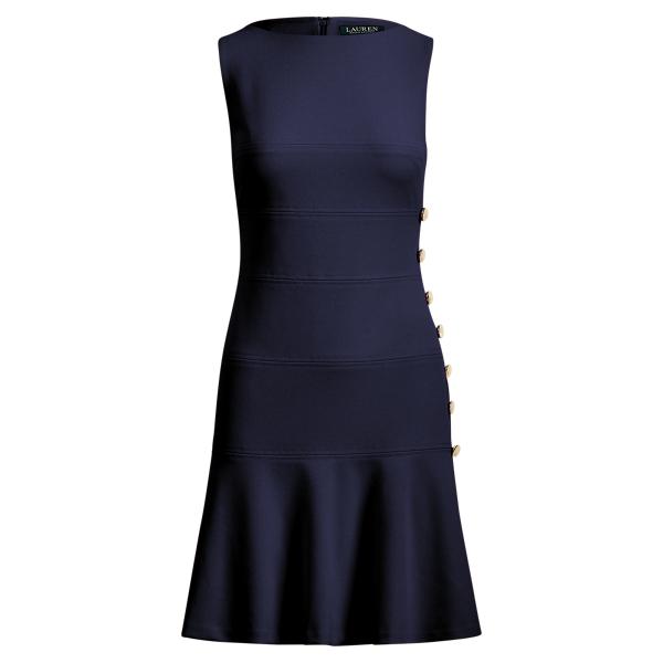 Button Trim Crepe Dress by Ralph Lauren