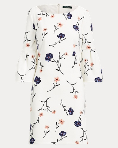 Floral Crepe Bell-Sleeve Dress