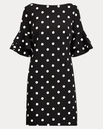 Polka-Dot Crepe Shift Dress