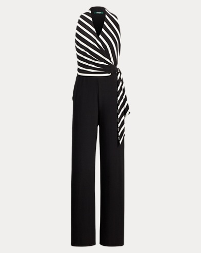 Striped Jersey V-Neck Jumpsuit